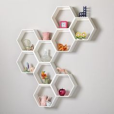 Honeycomb Wall Shelf (White) $59