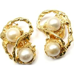 Pre-owned Arthur King 18K Yellow Gold Cultured Pearl Earrings (5,200 CAD) ❤ liked on Polyvore featuring jewelry, earrings, freshwater pearl earrings, cultured pearl jewelry, yellow gold jewelry, 18k yellow gold earrings and cultured pearl earrings