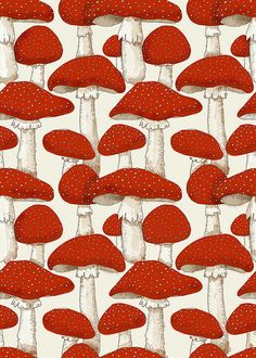 Red and White Mushrooms by aprintaday You can't beat a Fly Agaric repeat - bopeepworld.com loves it!