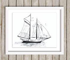 #Sailboat ink print, original drawing, #Nautical sketch, Boat print, art #sketch, #Boat #illustration,