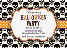 Spooky Skulls Halloween Party Invitation Printable