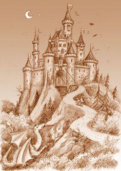 Must Have A Castle Happy Ever After Castle Painting Medieval Castle Drawing Ideas Castle Painting Castle Walt Disney World Cinderella Castle By Ch. Castle Sketch, Castle Drawing, Castle Painting, House Drawing, Castle Mural, Medieval Tattoo, Fantasy Castle, Fairytale Castle, Cinderella Castle