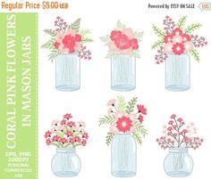 50% OFF SALE Coral Pink Flowers in Mason Jars Clip Art - Jars, Wedding, Roses, Flowers, Bouquets Clip Art #clipart #vector #illustration #thecreativemill