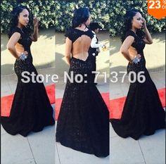 SML438 New style Party gown Black Mermaid Open back Cap sleeve Lace Vestido de fiesta 2015 prom dresses