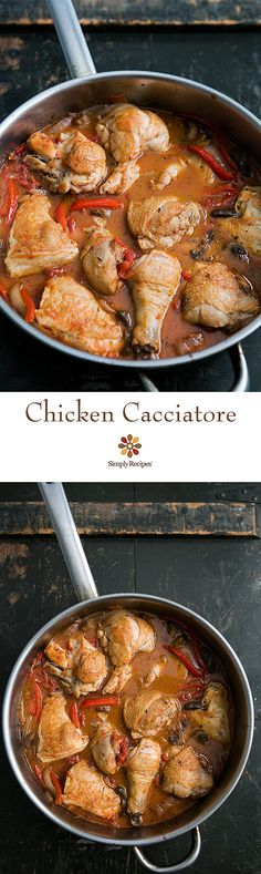 Chicken cacciatore, an Italian hunter-style chicken braised in a tomato-based sauce with onions, garlic, and white wine. On SimplyRecipes.com