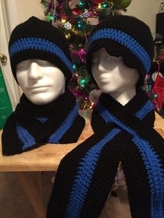 Thin Blue Line Hat and Scarf by ThruMeForALoop on Etsy