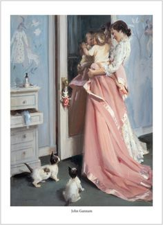 Illustration by John Gannam Mother Art, Mother And Child, Munier, Christian Homemaking, Victorian Art, Retro Art, Vintage Pictures, Victorian Pictures, Mothers Love