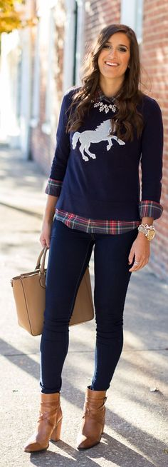 A Southern Drawl White Horse Sweater Fall Inspo
