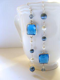 Mismatched Topaz Earrings, Dangling Blue Earrings #Earrings #Blue #Statement #Fashion #Accessories #Jewelry #Handmade #Gifts $49.00