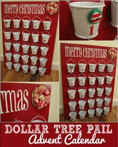 DIY Christmas Crafts | Create this adorable bucket Christmas advent using materials from the dollar store!