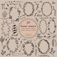50 Digital hand drawn Clip art elements