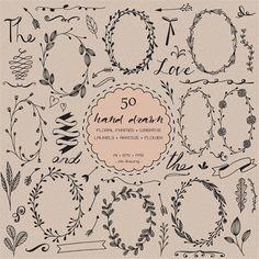 50 Digital hand drawn Clip art elements