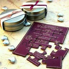 invitacion boda puzzle en caja metalica personalizado