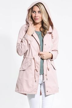Whether you sport this beauty in olive or dusty rose, it's bound to be a knock out! Rain or shine, this lightweight canvas material has you covered. This jacket will definitely be your go-to as it's both stylish and practical! Dog Raincoat, Hooded Raincoat, Silver Icing, Spring Jackets, Online Collections, Soft Summer, Fashion Company, Dusty Rose, Fashion Online