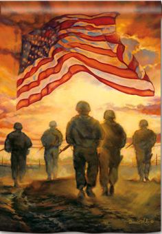 God Bless, all of our American Heroes and our flag | American Heroes decorative house and garden flag by Magnet Works from flagsrus features a group of soldiers walking into the sunset and an American flag flying in the sky.