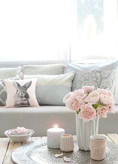 Love this pale pink and white home decor