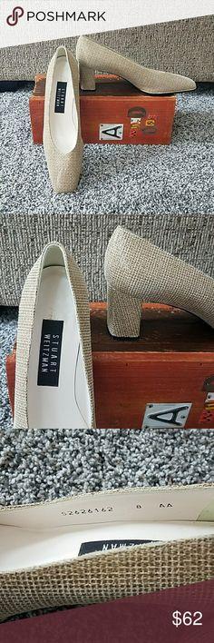 "New Stuart Weitzman sz 8 AA linen Classic. Stuart Weitzman linen color heels. Leather upper and leather sole. Size 8 AA.  Heel height approx 2.25"". Beautiful! Stuart Weitzman Shoes Heels"