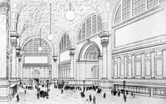 Pennsylvania Station, New York City, Drawing of the main waiting room, published in the New York Times in 1906.