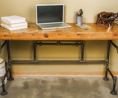 Reclaimed Pipe Desk. See more industrial pipe desks at…