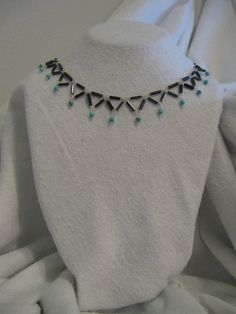 18 collarbone necklace turquoise and vintage Czech by charleydarbo, $69.00