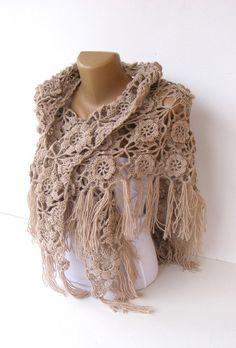 shawl women hand crocheted shawl beige shawl Wrap Stole by seno, $75.00