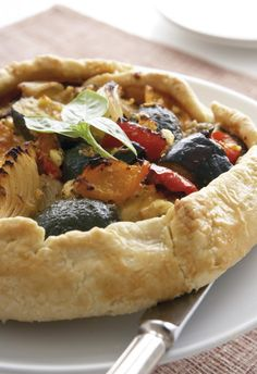 Roast vegetable and cheese pie
