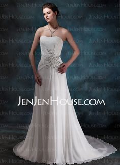 Wedding Dresses - $145.99 - A-Line/Princess Sweetheart Court Train Chiffon Wedding Dresses With Ruffle Beadwork Sequins (002001680) http://jenjenhouse.com/A-Line-Princess-Sweetheart-Court-Train-Chiffon-Wedding-Dresses-With-Ruffle-Beadwork-Sequins-002001680-g1680