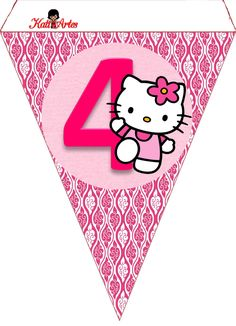 Bolo Da Hello Kitty, Hello Kitty Birthday, Printable Banner, Free Printables, Anniversaire Hello Kitty, Hello Kitty Invitations, Hello Kitty Themes, Diy Birthday Banner, Kitty Images