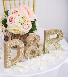 Initial Signs Letters Freestanding Wedding Initial Signs - Personalized Table Signs - Initials 2 Letters and Ampersand (Item - INI400)