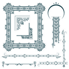 Classical Europe styles frame with borders vectors 05