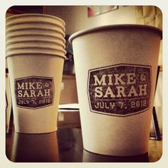 Custom made logo made into a stamp and then stamped onto a coffee cup for our espresso bar at the wedding!!