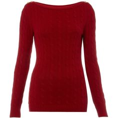 Lauren by Ralph Lauren Cable knit jumper with shoulder button detail ($155) ❤ liked on Polyvore