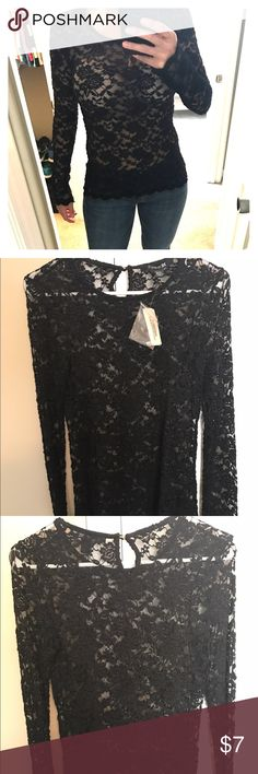 Forever 21 long sleeve lace see through top NWT, never worn except to model, fitted Forever 21 Tops Tees - Long Sleeve