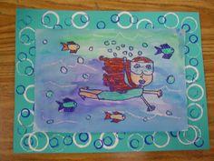 Mrs. Knight's Smartest Artists: 3rd grade  underwater portrait