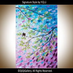 "Abstract Painting Original Impasto Painting Canvas Art Love Birds Tree Branches ""Spring Romance""by qiqigallery on Etsy, $325.00"
