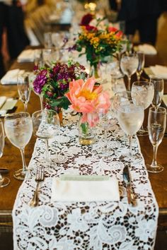 vintage barn lace wedding table runner