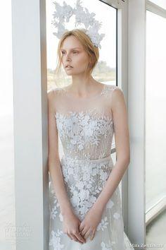 mira zwilinger bridal 2016 stardust alpha sleeveless light grey organza wedding dress guipure lace sequis illusion neckline zoom