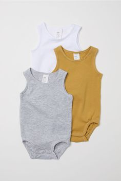 Bodies en coton pima, lot de 3 - Gris clair chiné - ENFANT   H&M FR 1
