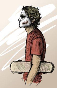The Joker and his skateboard. Because he's the Joker.