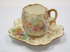 Royal Doulton Tea Cup & Saucer, Multi-color Floral pattern Burslem ...