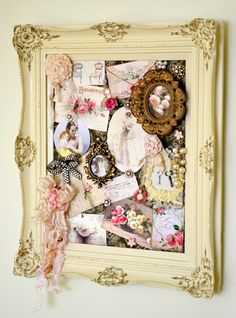 Old Frame...with shabby memorabilia.  Great idea for however you want to fill it.  jennelliserose.blogspot.com
