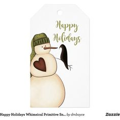 Happy Holidays Whimsical Primitive Snowman Crow Gift Tags ($9.80) ❤ liked on Polyvore featuring home, home decor, holiday decorations, snowman home decor and happy holidays gift tags