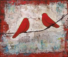 Sold - Two Red Birds on a Wire
