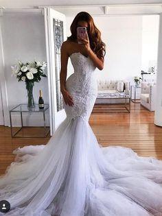 Mermaid Sweetheart Sweep Train Tulle Appliqued Wedding Dresses ASD26731