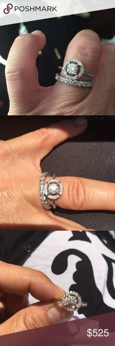 Beautiful 3/4 Carat White Gold Diamond Ring Beautiful 3/4 Carat White Gold Diamond Ring is a size 7. Approximately one half carat center stone. Very sparkly and gorgeous. Band in picture is NOT included. Halo ring only. Zales Jewelry Rings