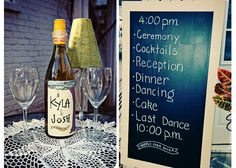 Love chalkboard signs! Love how they used it as a schedule of events for the guests!