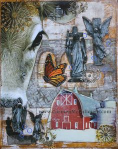STRANGE FARM GIRLS Mixed Media Art Print by CarmenMcCullough on Etsy