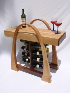 Curved Wine Rack with Butcher Block Top