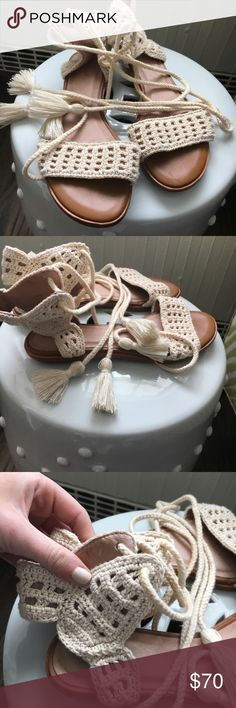 Brand new never worn Joie sandals Brand new crocheted Joie tan and off white Joie Shoes Sandals