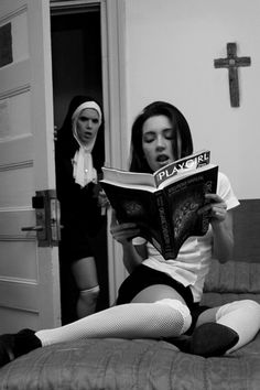 Sister's looking forward to spanking the devil out of her young acolyte. And so is the acolyte